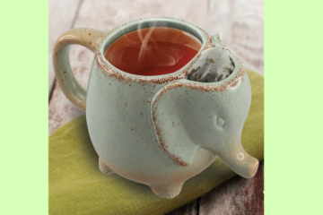 This Ceramic Elephant Tea Mug Has Built-In Tea Bag Storage