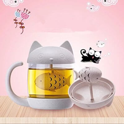 This Adorable Cat Mug Comes With A Fish-Shaped Tea Infuser