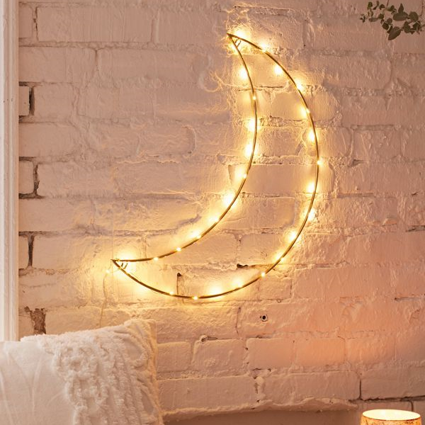 This Hanging Moon Light Sculpture Will Make Your Living Space Super Cozy