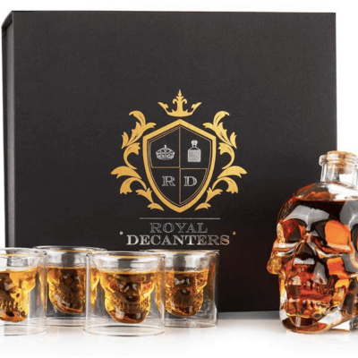 This Skull Decanter Set Is The Answer To Your Boozy Halloween Needs