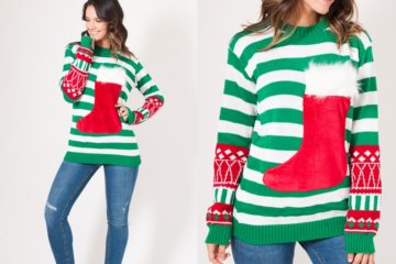 This Wine Pocket Christmas Sweater Has A Stocking That Holds Your Favorite Red