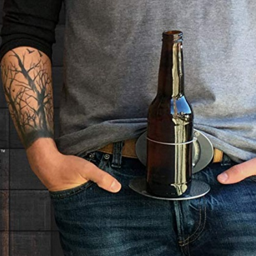 The BevBuckle Is A Belt Buckle That Will Hold Your Beer For You
