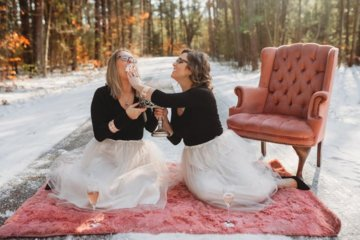 Best Friends Celebrate Their 35th Birthday Together With A Prosecco And Cake Fight Photoshoot