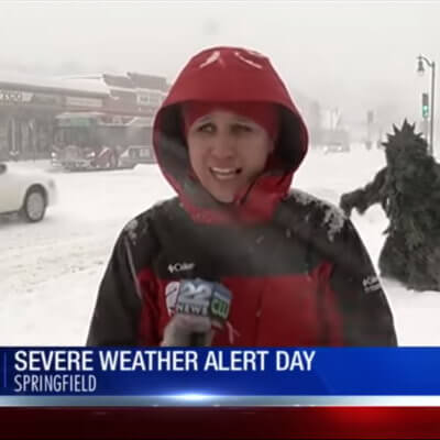 A 'Pot Sasquatch' Covered In Marijuana Leaves Crashed A Local News Report During Major Snowstorm