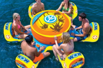 This Inflatable Table And Chairs Set Comes With Its Own Cooler And Drink Holders