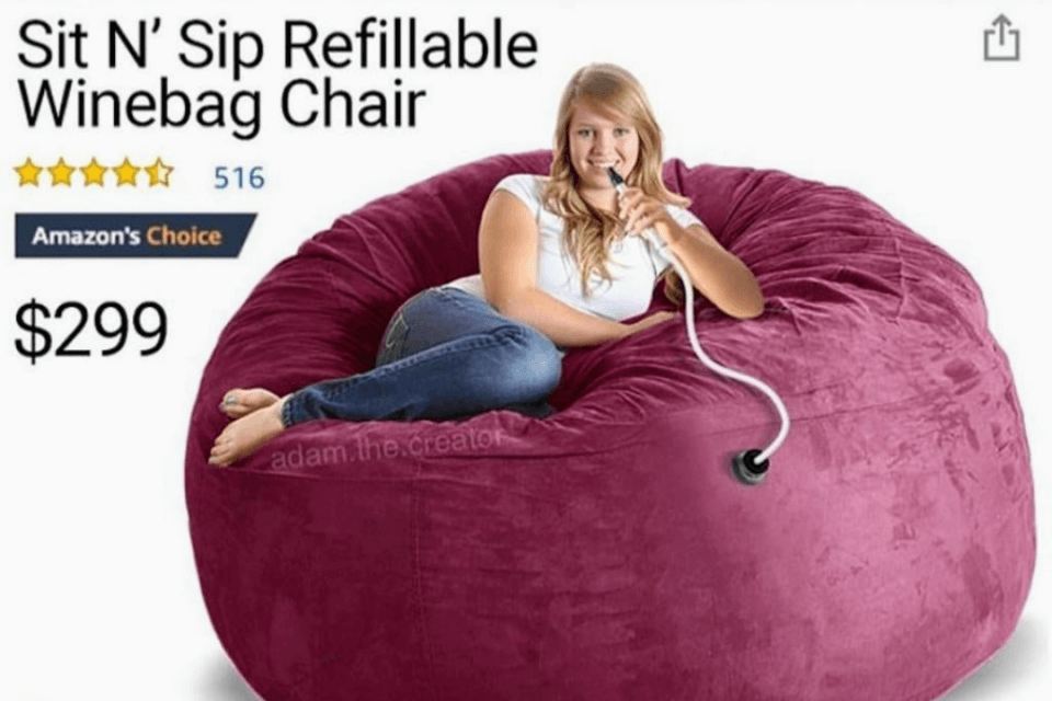 The Sit N' Sip Chair Could Hold 750 Bottles Of Wine… If It Was Real