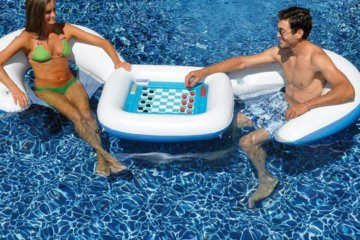 This Inflatable Game Table Includes Chairs And Waterproof Cards For Ultimate Pool Fun