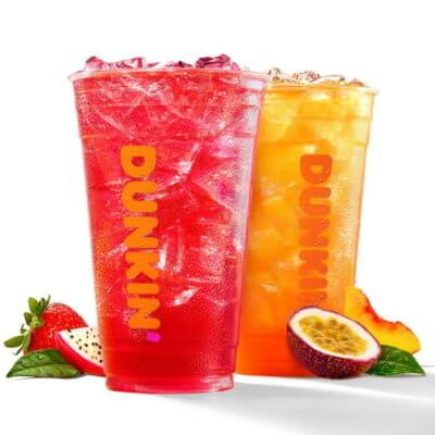 Dunkin's New Strawberry Dragonfruit And Peach Passion Fruit Refreshers Are Perfect For Summer
