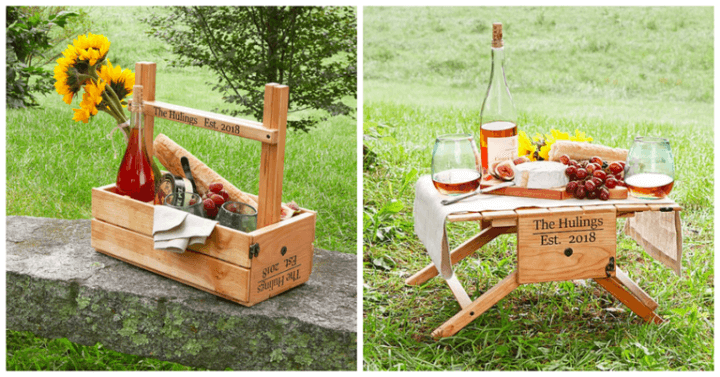 picnic table wine carrier