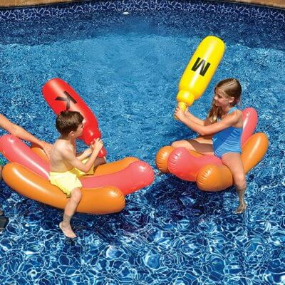 This Hot Dog Battle Pool Float Set Is The Best Kind Of Food Fight
