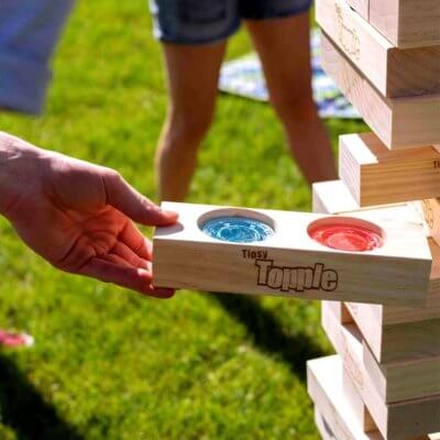 This 5-Foot Tall Jenga Game Hides Jell-O Shots In Its Wooden Slots