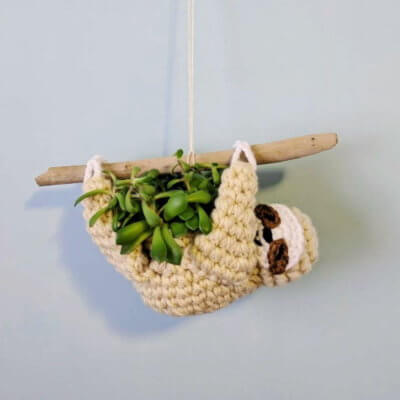 This Crocheted Sloth Planter Makes Displaying Your Plants So Much Cuter