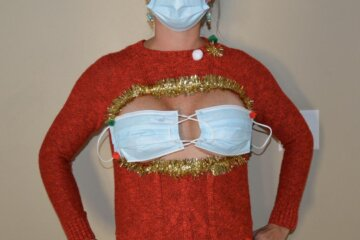 This Ugly Christmas Boob Mask Sweater Makes The Holidays Sexy And Safe