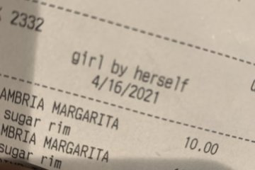 Woman At Bar Amused After Being Described As 'Girl By Herself' On Drinks Receipt