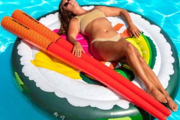 This Giant Inflatable Sushi Roll Pool Float Comes With Its Own Chopstick Doodles