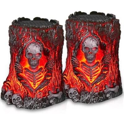 Amazon Is Selling Solar-Powered Flickering Skull Lights For The Ultimate Halloween Experience